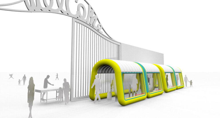 inflatable tent and social distancing